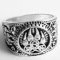 """Кольцо """"Печать Велеса"""" волчья лапа. Перстень оберег. Размер 19."""