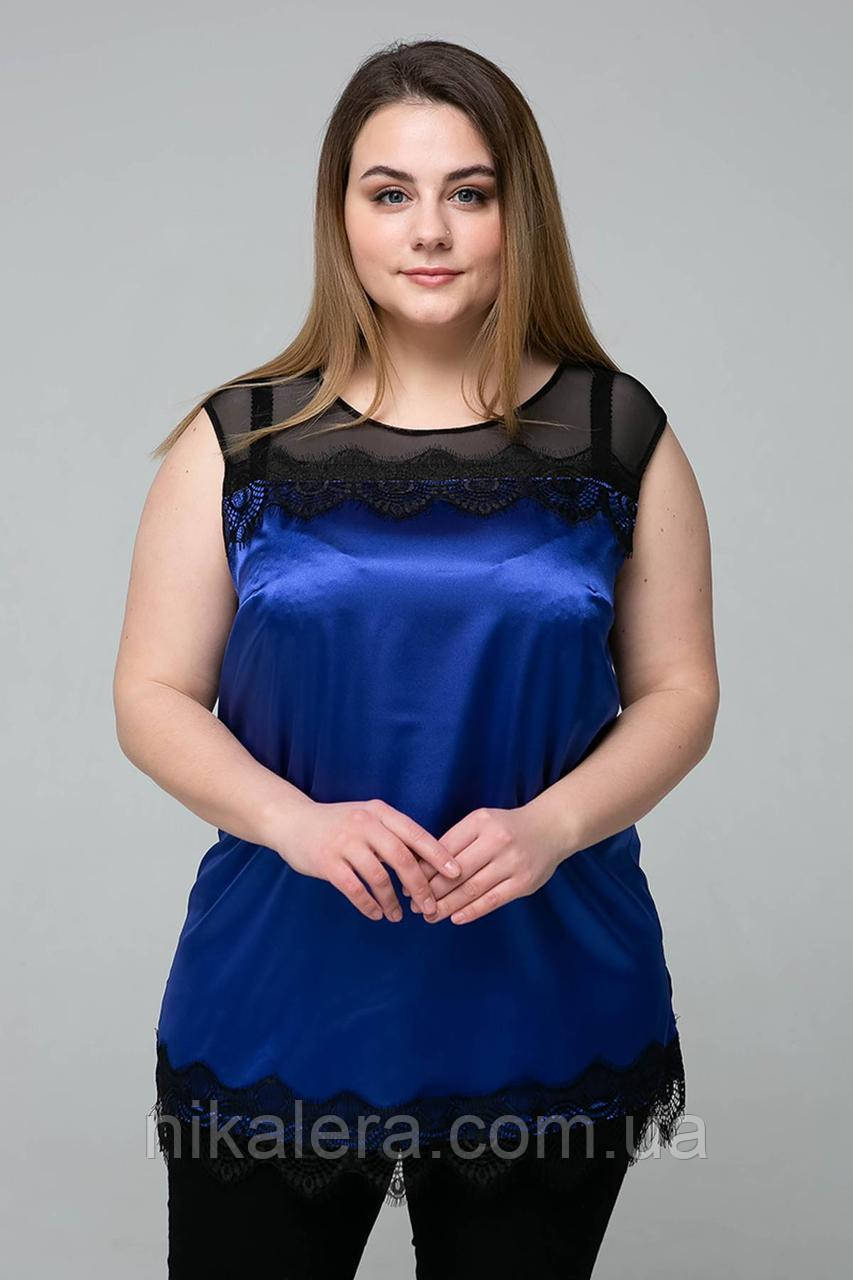 Блуза с кружевом из ткани атлас рр 54,56,58,60