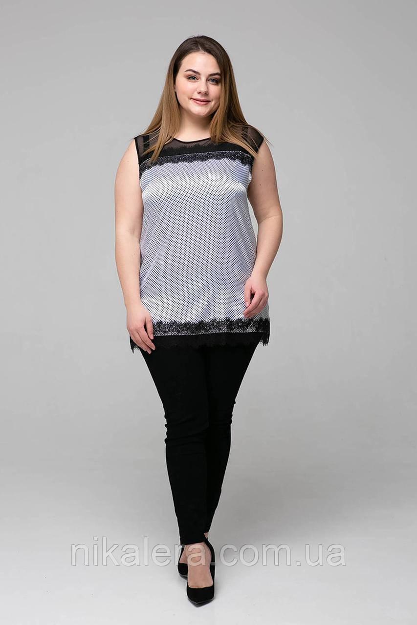 Атласная женская блуза с кружевом рр 54,56,58,60