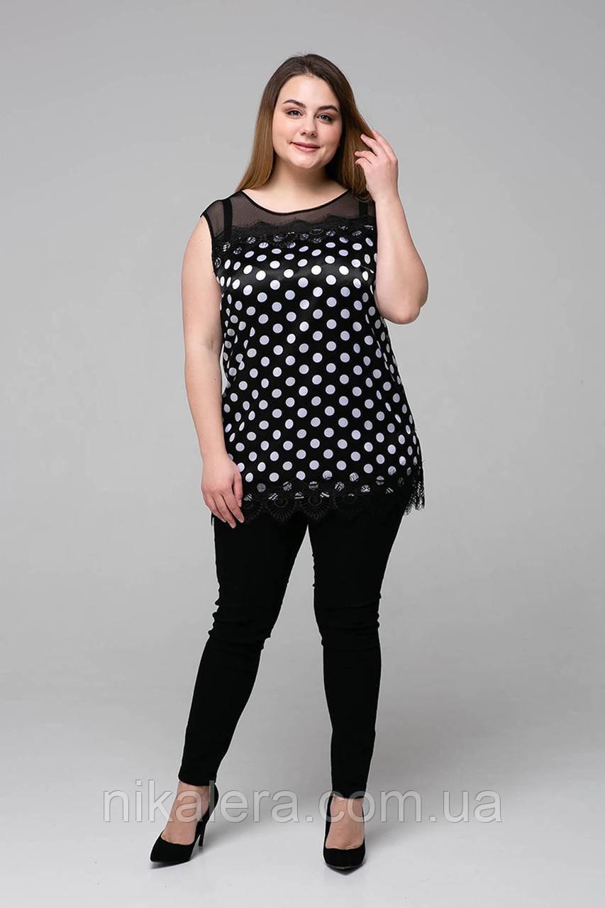 Атласная женская блуза с кружевом в  горох рр 54,56,58