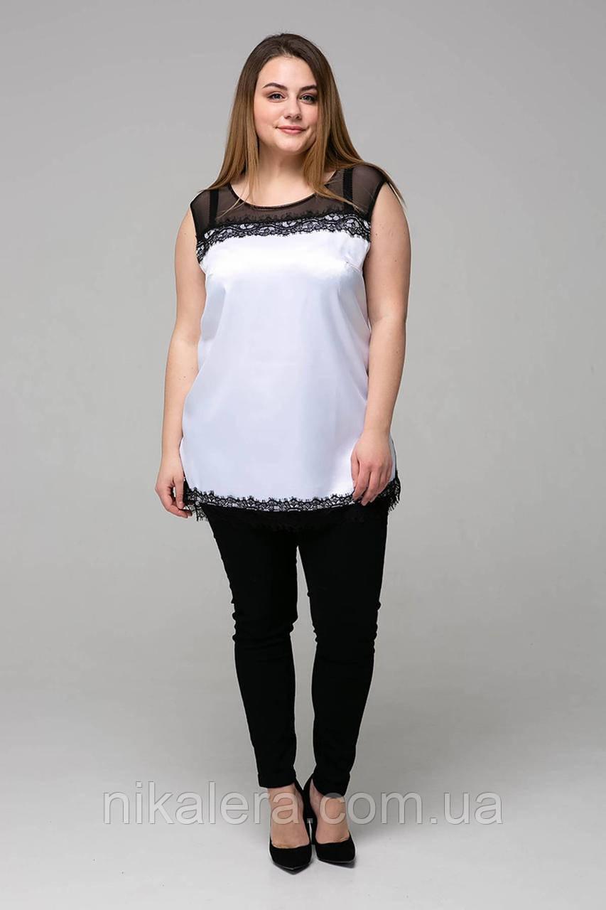 Женская блуза из атласа с кружевом рр 54,56,58,60