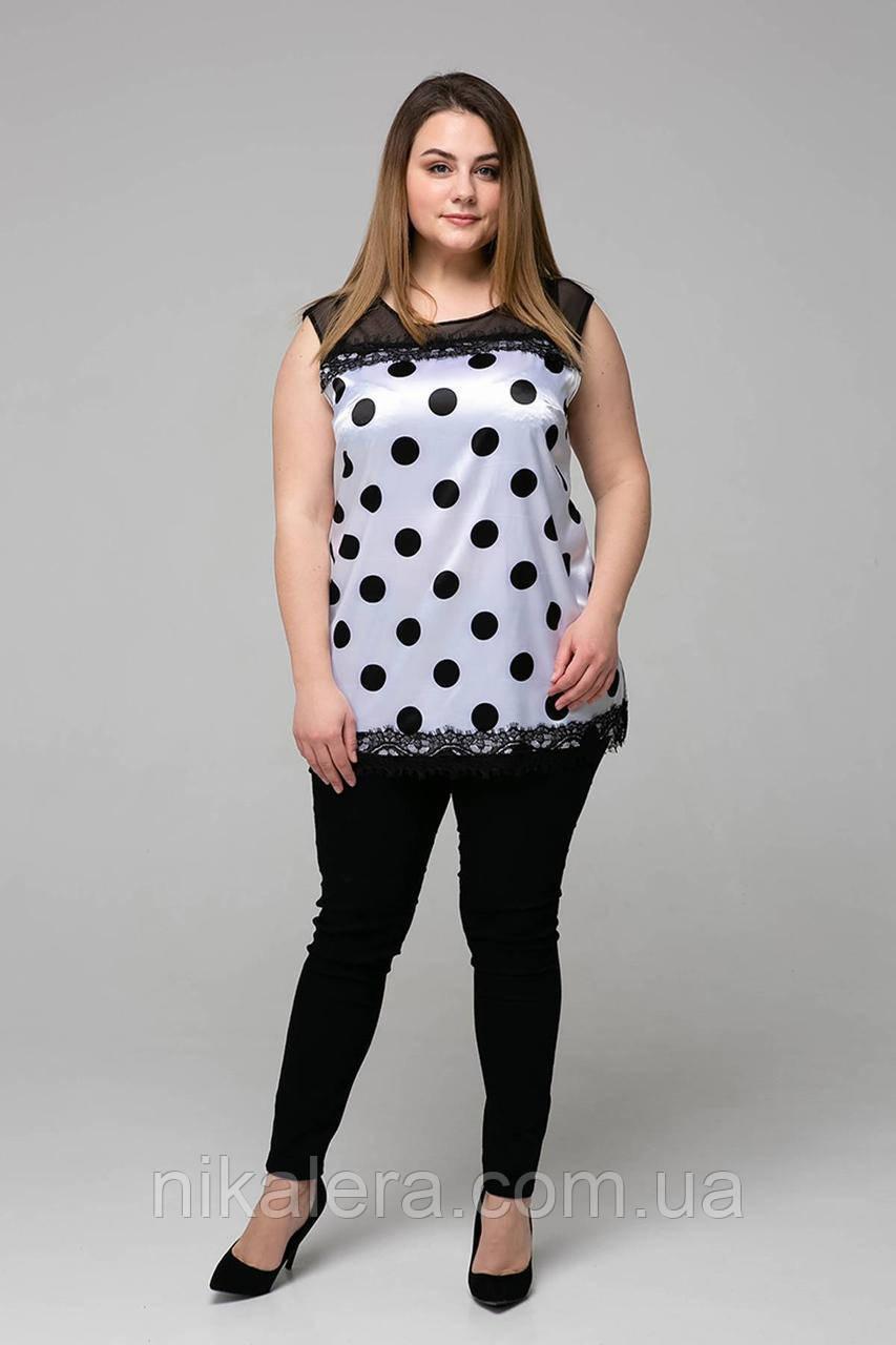 Атласная женская блуза с кружевом в крупный горох рр 54,56