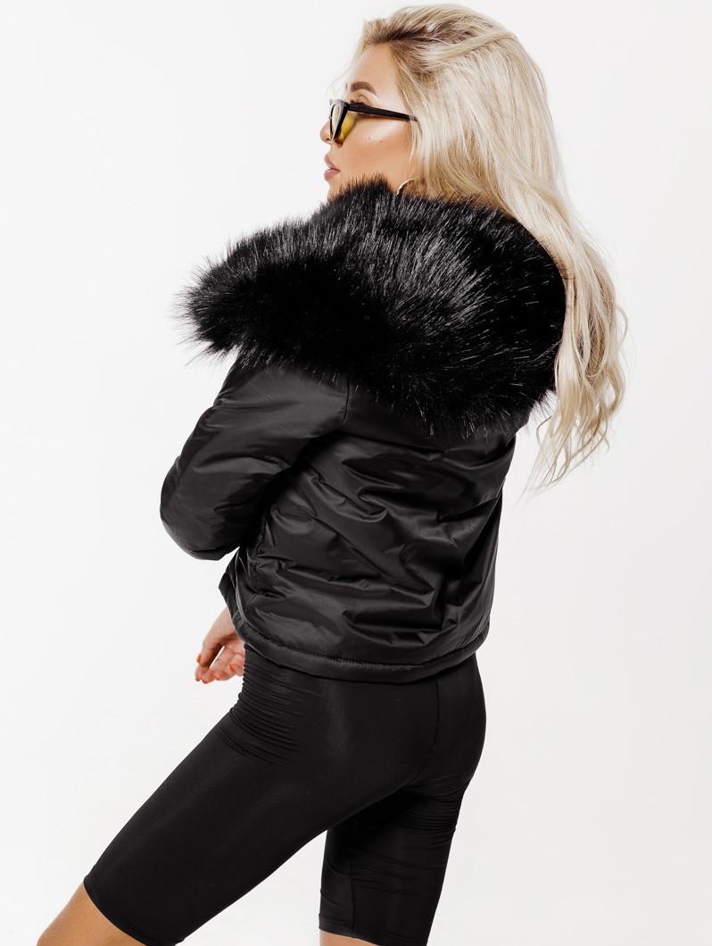 Супер Стильная! Черная короткая женская куртка с мехом
