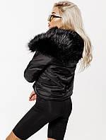 Супер Стильная! Черная короткая женская куртка с мехом, фото 1