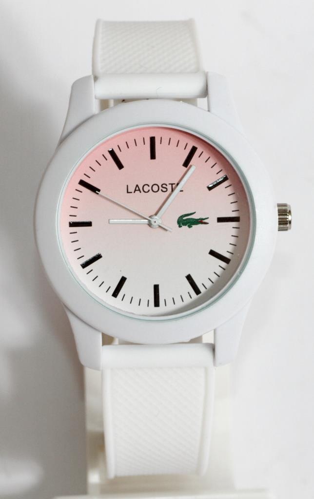 Наручные кварцевые часы Lacoste M161. Белые с бирюзовым циферблатом