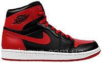 Мужские кроссовки Nike Air Jordan 1 Retro Red Black (найк аир джордан 1 ретро, красные/черные)