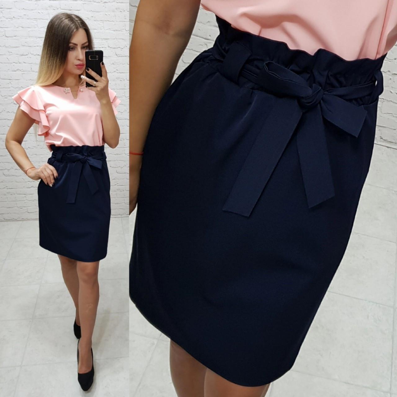 Новинка! Стильная юбка с поясом, арт 174, цвет тёмно синий