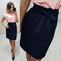 Новинка! Стильная юбка с поясом, арт 174, цвет тёмно синий, фото 1