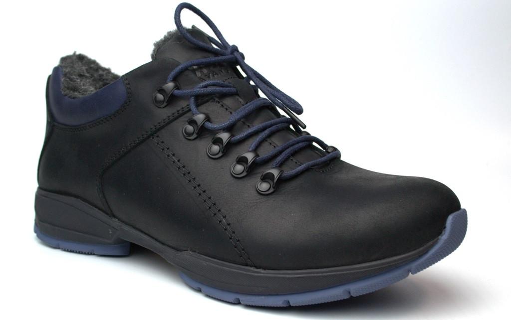 Зимние полуботинки мужские черные кожаные на меху Rosso Avangard LOM Black Leather