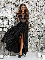 Платье в пол из шелка для вечернего выхода, 00032 (Черный), Размер 42 (S)