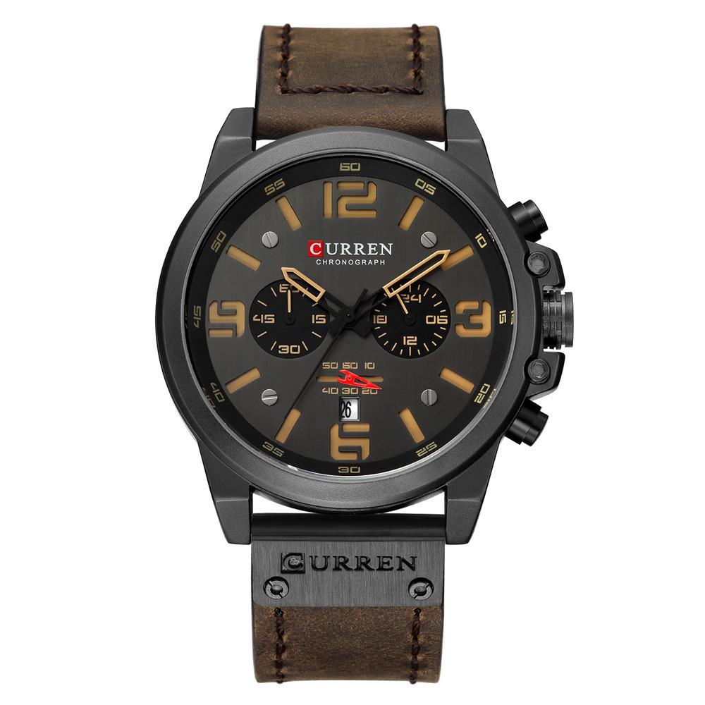Мужские наручные часы Curren 8314 - черный корпус, кожаный темно коричневый ремешок