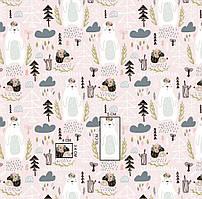 Хлопковая ткань Ежики, мишки в лесу