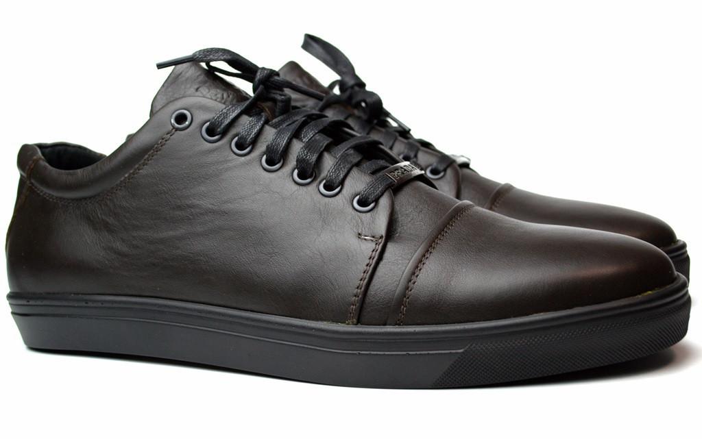 Кожаные коричневые кроссовки кеды мужская обувь больших размеров Rosso Avangard Gushe Brown BS