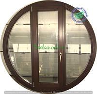 Круглое балконное окно с дверью ламинация
