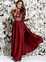 Платье с вышивкой на сетке из шелка в пол, 00034 (Бордовый), Размер 42 (S)