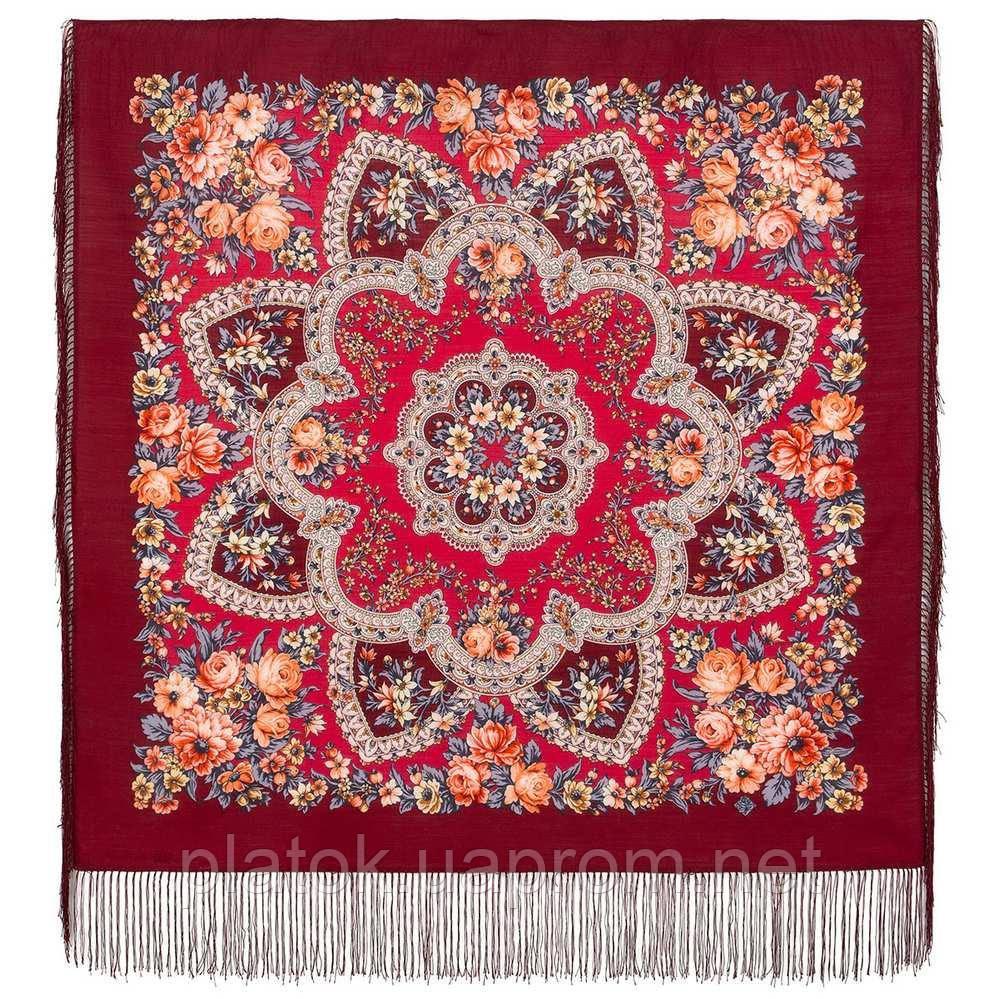 Весеннее пробуждение 1874-6, павлопосадский платок шерстяной  с шелковой бахромой