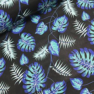 Хлопковая ткань польская листья папоротника фиолетово-бирюзово-белые на черном