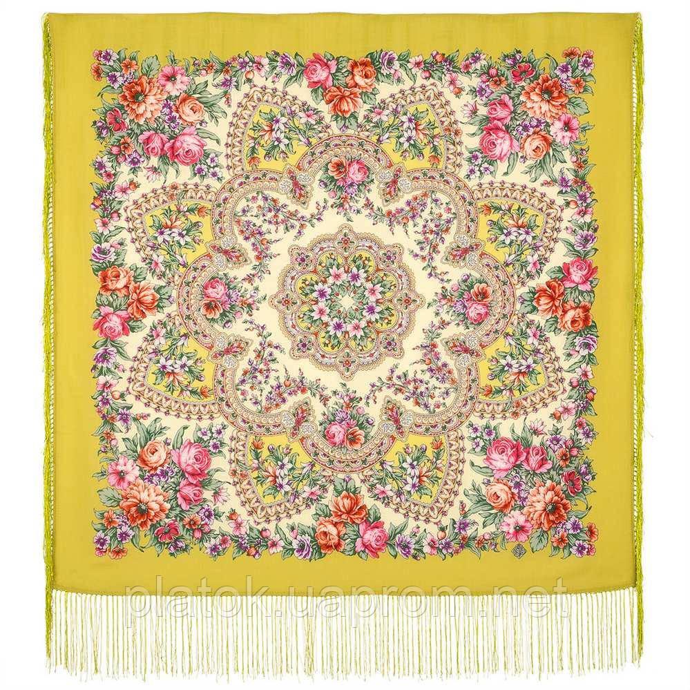 Весеннее пробуждение 1874-10, павлопосадский платок шерстяной  с шелковой бахромой