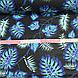 Хлопковая ткань польская листья папоротника фиолетово-бирюзово-белые на черном, фото 4