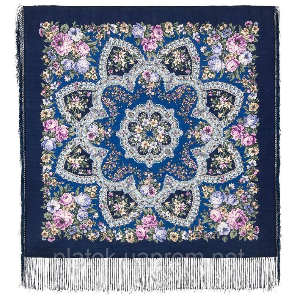 Весеннее пробуждение 1874-14, павлопосадский платок шерстяной  с шелковой бахромой