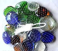 Камни для декора круглые плоские большие цветные 3,5х0,7 см