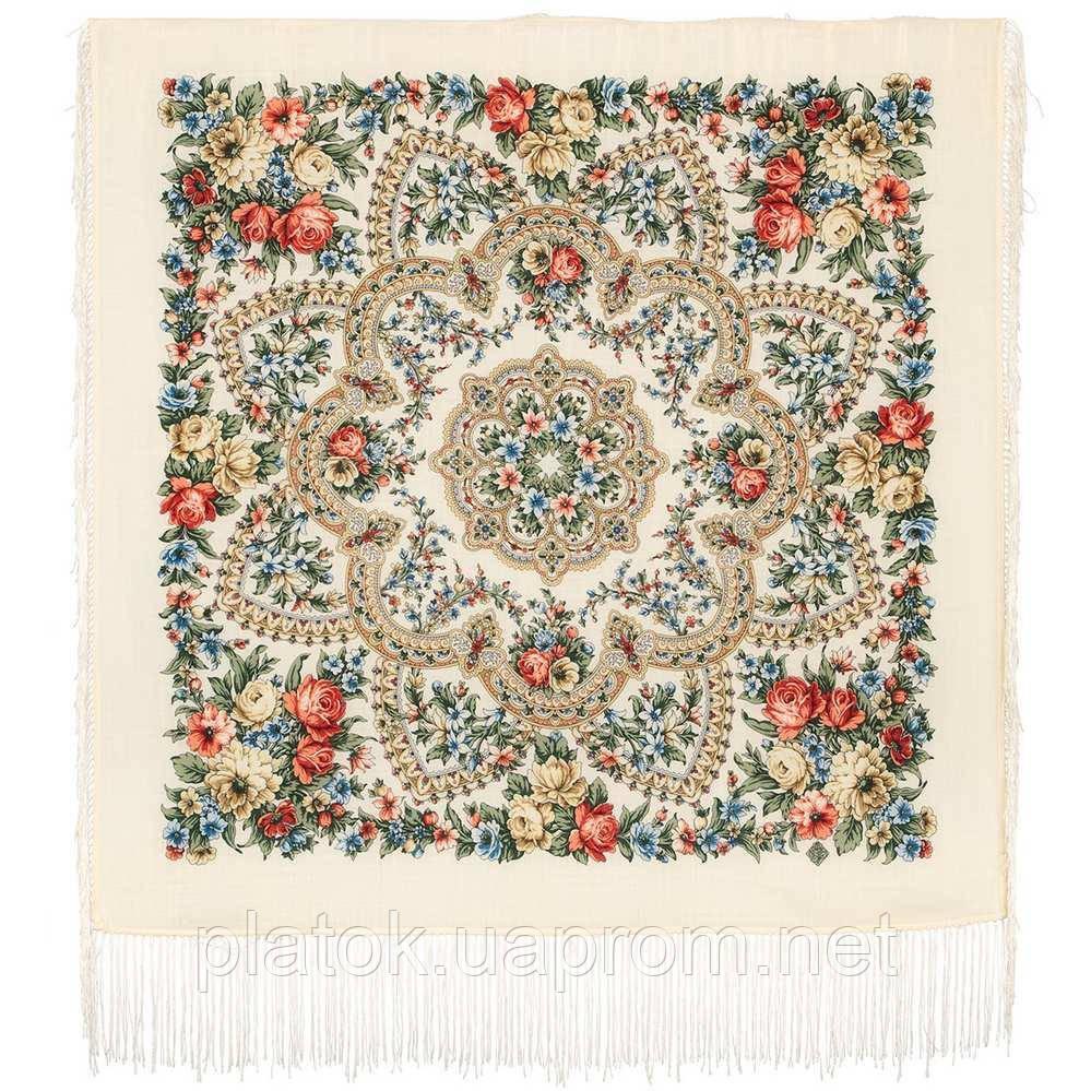 Весеннее пробуждение 1874-0, павлопосадский платок шерстяной  с шелковой бахромой