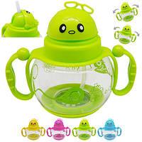 Чашка-поїлка пластик дитяча з ручками, R83434