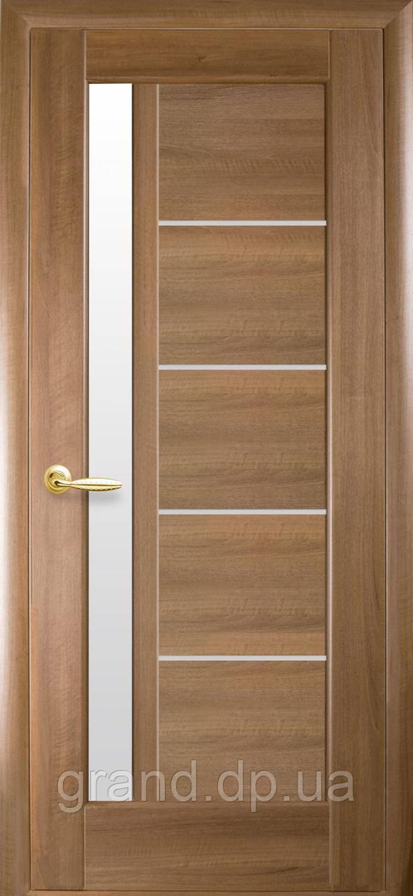 Межкомнатная дверь  Грета ПВХ DeLuxe со стеком сатин,цвет золотая ольха
