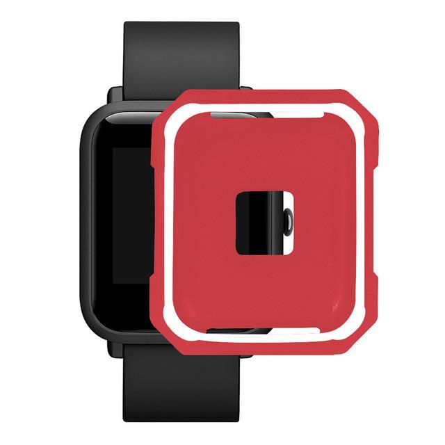 Чехол cиликоновый  для Xiaomi Amazfit Bip на весь корпус Red-White (20247)