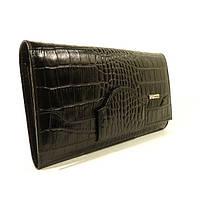 Кожаный женский кошелек Desisan 128-11 черный с тиснением под крокодила, расцветки