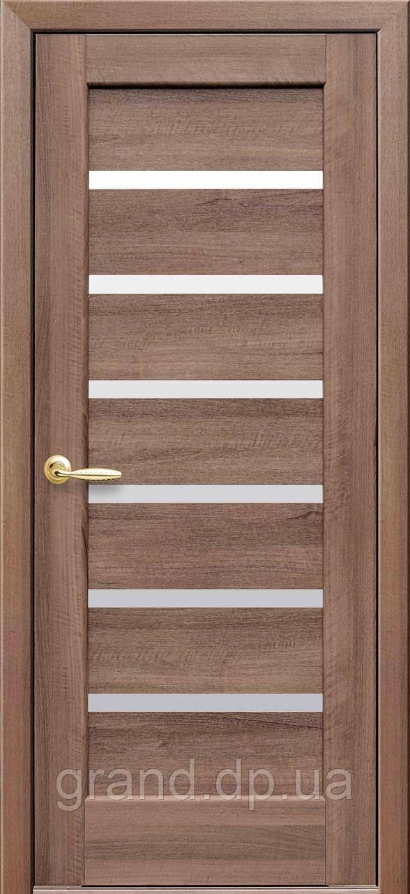 Межкомнатная дверь  Линнея ПВХ DeLuxe с матовым стеклом ,цвет золотая ольха