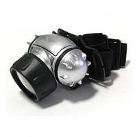 Налобный led-фонарь в пластиковом корпусе 050/9с, 3 режима включения, на батарейках 3*ААА, наклон головы