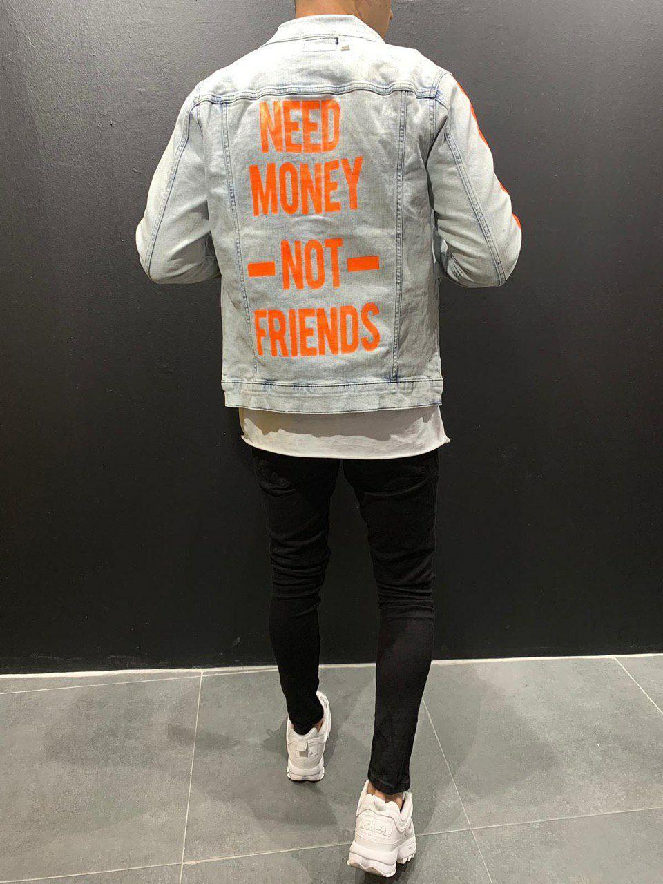 😜Мужской джинсовый пиджак с оранжевой вставкой
