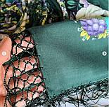 Павловопосадский 1816-9, павлопосадский хустку (шаль) з ущільненої вовни з шовковою бахромою в'язаної, фото 6
