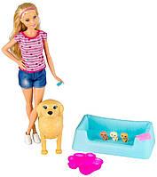Кукла Барби и собака с новорожденными щенками Barbie Newborn Pups Doll & Pets Playset, Blonde, фото 1