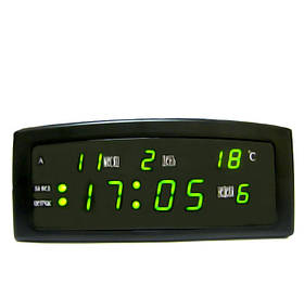 Настільні LED годинник CX 909-A з зеленою підсвіткою, чорні