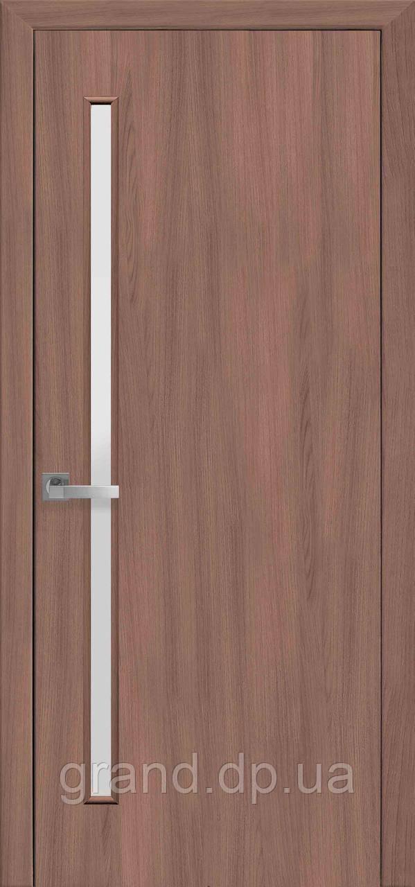 Межкомнатная дверь Глория Экошпон со стеклом сатин, цвет ольха 3D