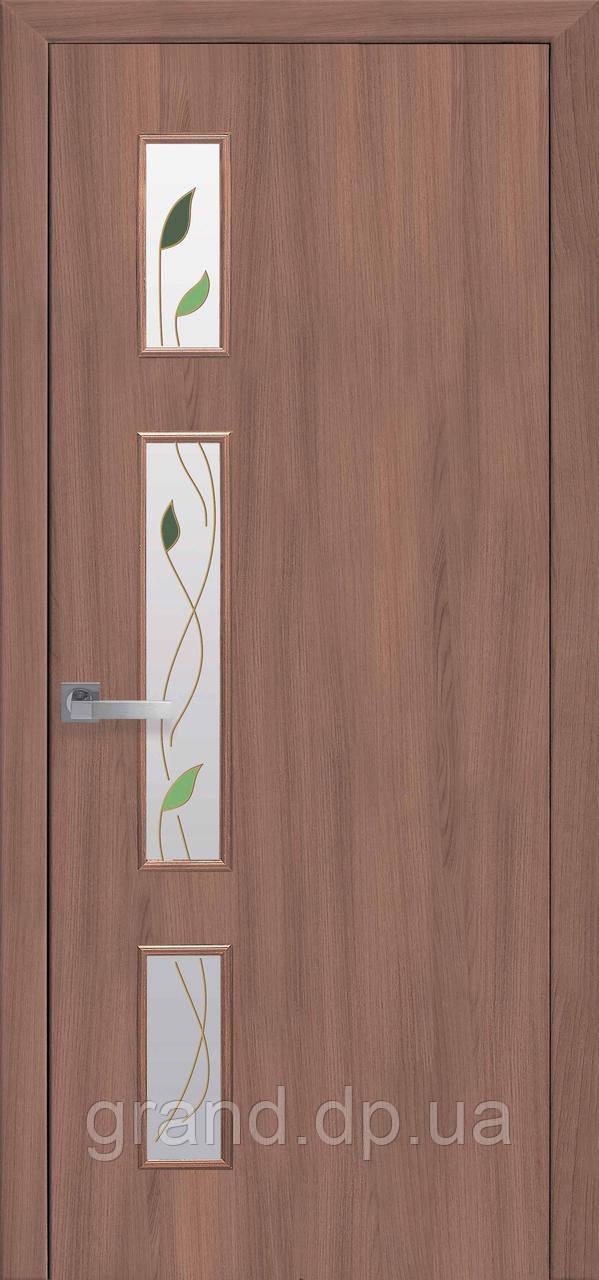 Дверь  Герда Новый стиль экошпон со стеклом сатин и цветным рисунком, цвет ольха 3D