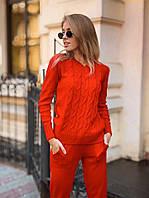 Костюм женский прогулочный вязаный кофта с косами и штаны с карманами Dol1707
