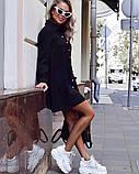Платье женское короткое свободного кроя на пуговицах. Цвета: пудра, красный, чёрный, фото 4
