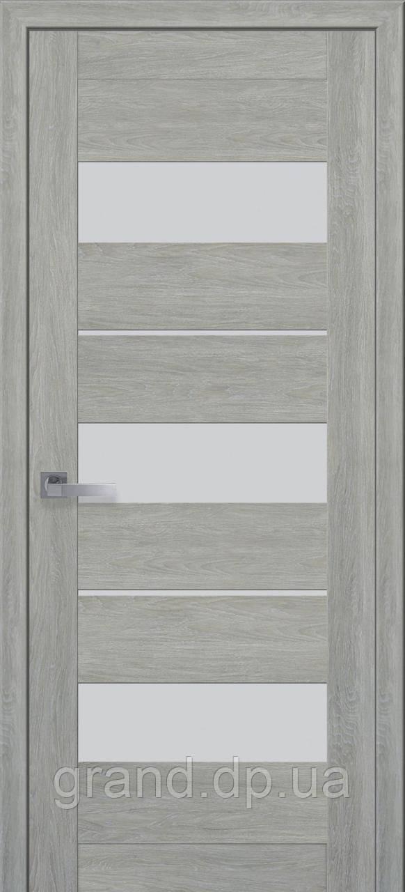 Межкомнатная дверь Лилу ПВХ ULTRA с матовым стеклом, цвет дуб дымчатый