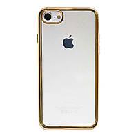Прозрачный силиконовый чехол Epik для Apple iPhone 7 / 8 (4.7) с глянцевой окантовкой Gold (2-00000016579_2)