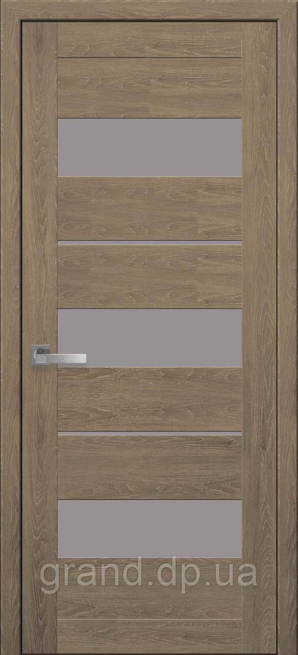 Межкомнатная дверь Лилу ПВХ ULTRA с матовым стеклом, цвет дуб медовый