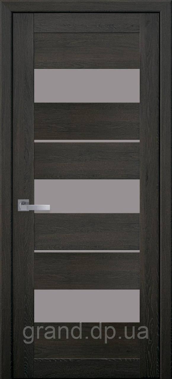 Межкомнатная дверь Лилу ПВХ ULTRA с матовым стеклом, цвет дуб мускат