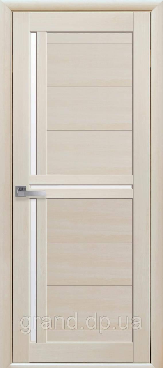 Межкомнатная дверь Тритини Экошпон со стеклом сатин, цвет дуб жемчужный