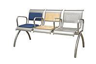 """3-х местная металлическая секция стульев с фанерными накладками """"Нэо"""""""