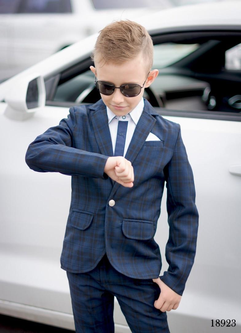 Костюм классика пиджак+брюки двойка клетка на мальчика костюмная ткань 140,146
