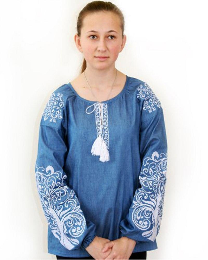 Вышитая блузка Ольга цвета джинс