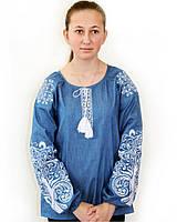 Вышитая блузка Ольга цвета джинс, фото 1