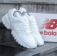 Мужские кроссовки New Balance 574 Sport White (нью беланс 574, белые)